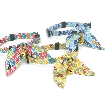 Bunny Ears Cat Collar With Japan Traditional Lucky Pendant, Cloud Ocean Pattern