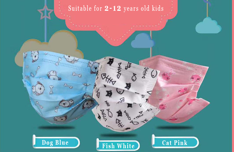 100 PCS Children Face Masks for Kids 2-12 Years Old, Disposable, Qualify for CE & FDA & YY/T 0969-2013