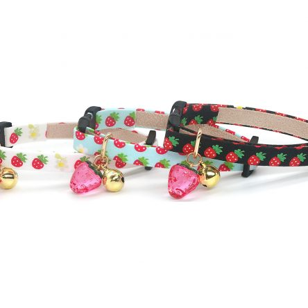 Supper Cute Cat Collar with Strawberry Charm